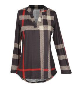 kleding webshop laten maken product V Neck Plaid High Low Shirt